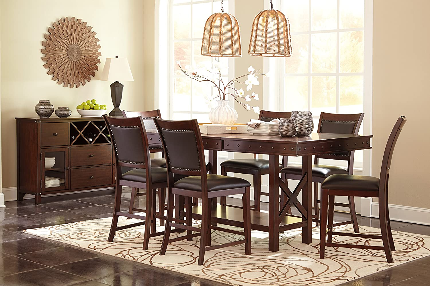 Amazon.com - Collenborg Casual Wood Dark Brown Color Dining ...