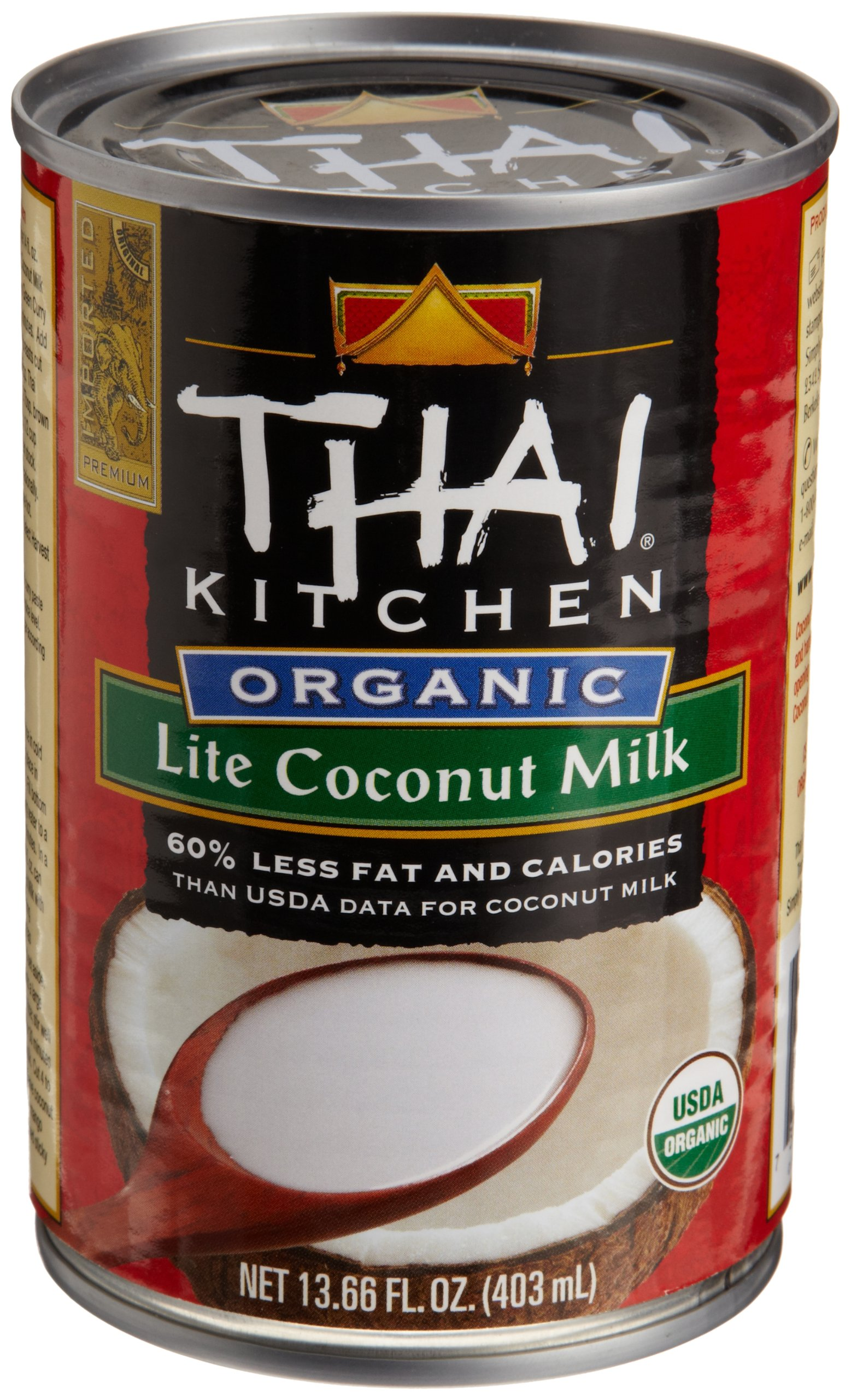 Thai Kitchen Organic Coconut Milk, Lite, 13.66 Ounce (Pack of 12)