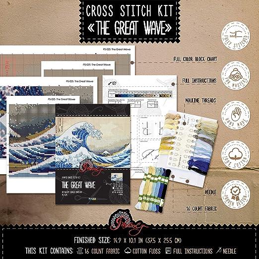 Kit Cross-Stitch The Great Wave Off Kanagawa - Hokusais Ukiyo-e ...
