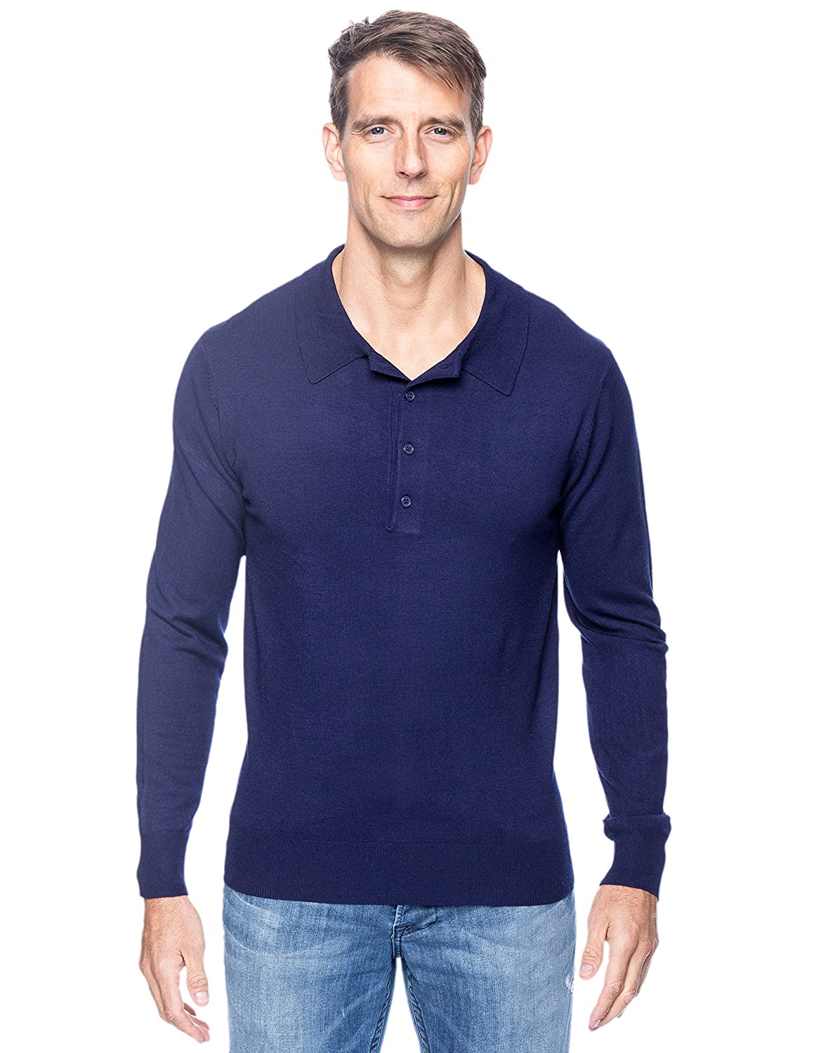 Noble Mount Tocco Reale Gift Packaged Men's Classic Knit Long Sleeve Polo Sweater tcr_mn_sw_vsnl12_lspolo