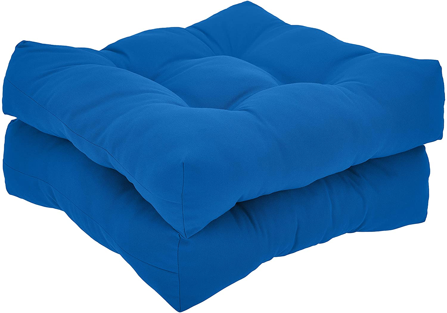 AmazonBasics Tufted Outdoor Seat Patio Cushion - Pack of 2, 19 x 19 x 5 Inches, Blue