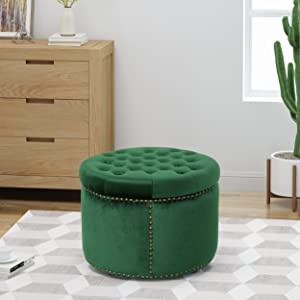 Christopher Knight Home 304982 Carlos Glam Velvet Tufted Ottoman, Emerald