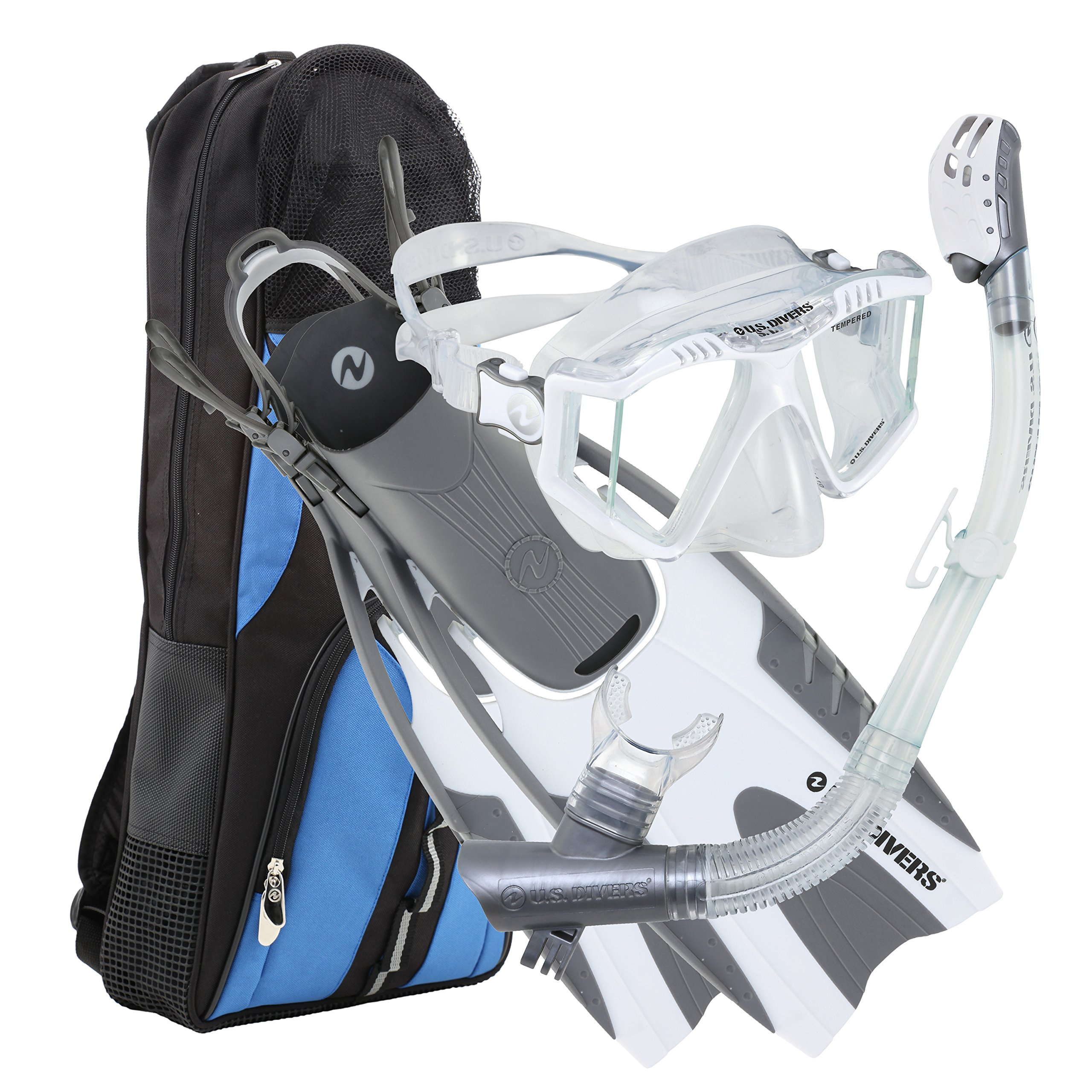 U.S. Divers Lux Mask Fins Snorkel Set Compatible with GoPro, White, Large/X-Large by U.S. Divers