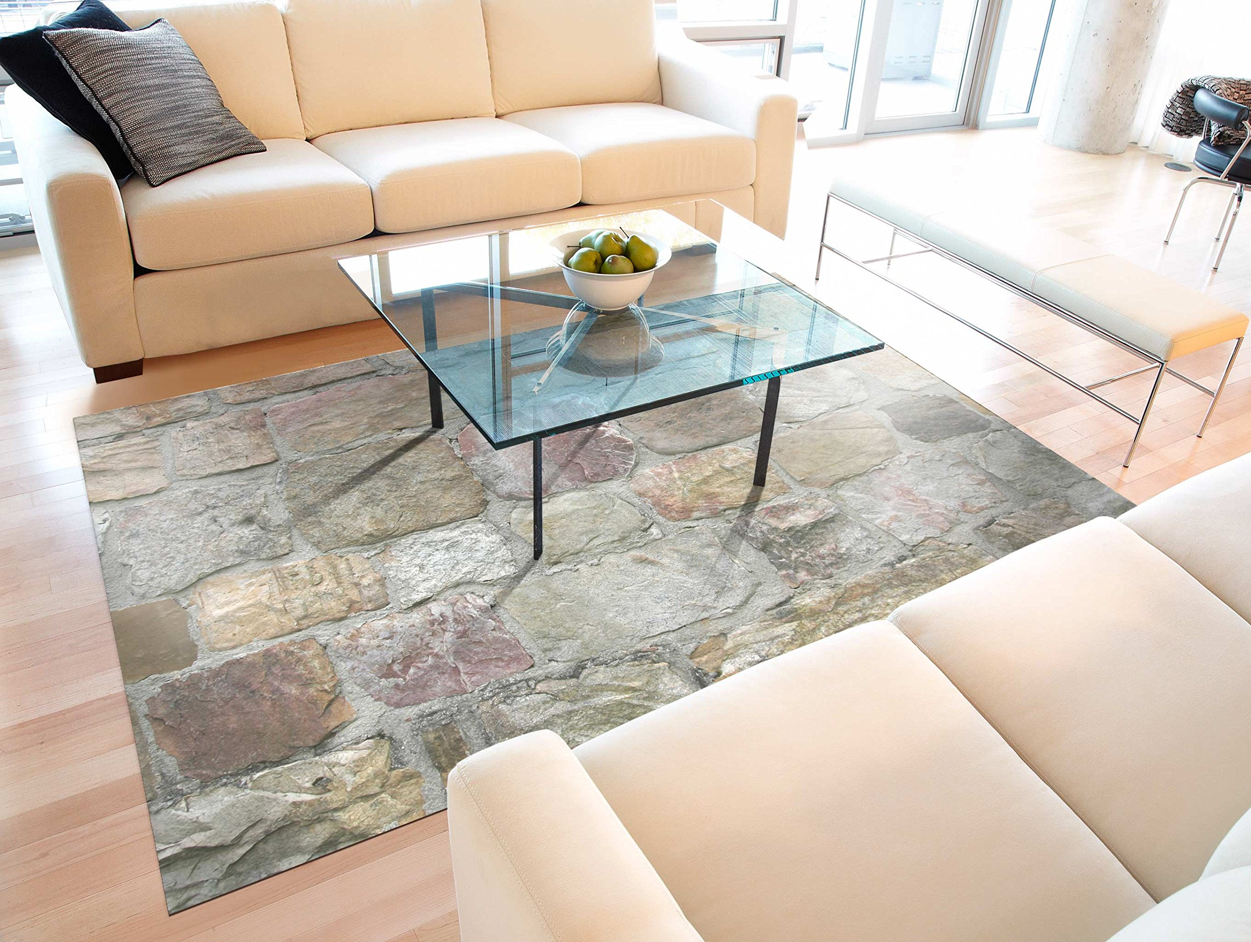 Faux Flooring Rock Wall Area Mat, 46 by 66-Inch, Multicolor
