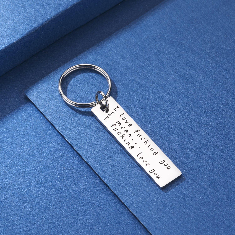AOGOKO Stainless Steel His Crazy Her Weirdo Couples Keychains Set,Personalized Couples Jewelry for Boyfriend Girlfriend