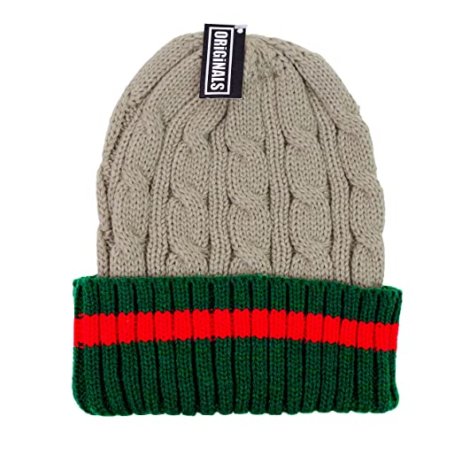 9719717a497 Amazon.com  Originals Beanie Ribbed Cable Knit Red Green Stripe Cuff Ski  Snow Warm Winter Unisex Beany (Beige)  Clothing
