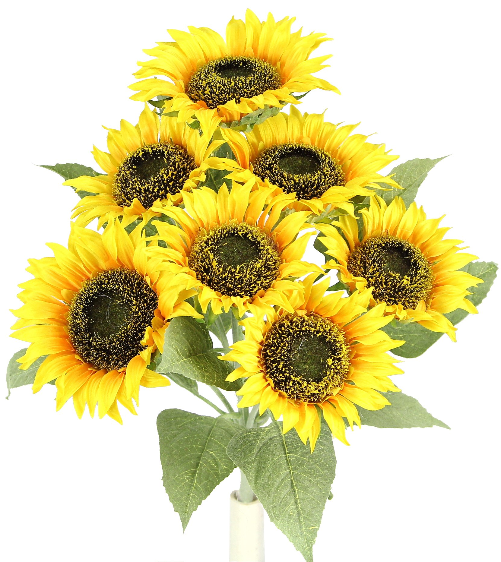 Admired By Nature Artificial Sunflower Stem Full Bloom and Bud Flowers Bush Home, Office, Hotel and Bridal Wedding Arrangement Decoration, Gold