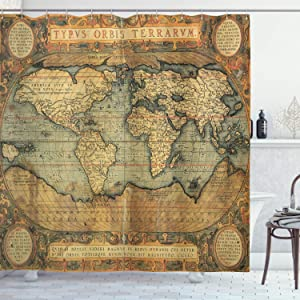 Ambesonne World Map Shower Curtain, Old Chart Vintage Composition of 16th Century Atlas Print, Cloth Fabric Bathroom Decor Set with Hooks, 75