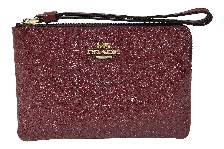 ecaad0df3cfd6 Amazon.com  Coach Signature Debossed Patent Leather Corner Zip Wristlet