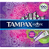 Tampax Radiant Plastic Applicator Tampons, Super Absorbency, Unscented, 32 count - Pack of 6 (192 Total Count)