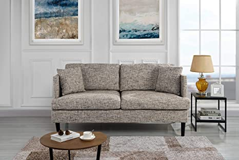Modern Upholstered Loveseat Sofa/Couch (Ash Brown)
