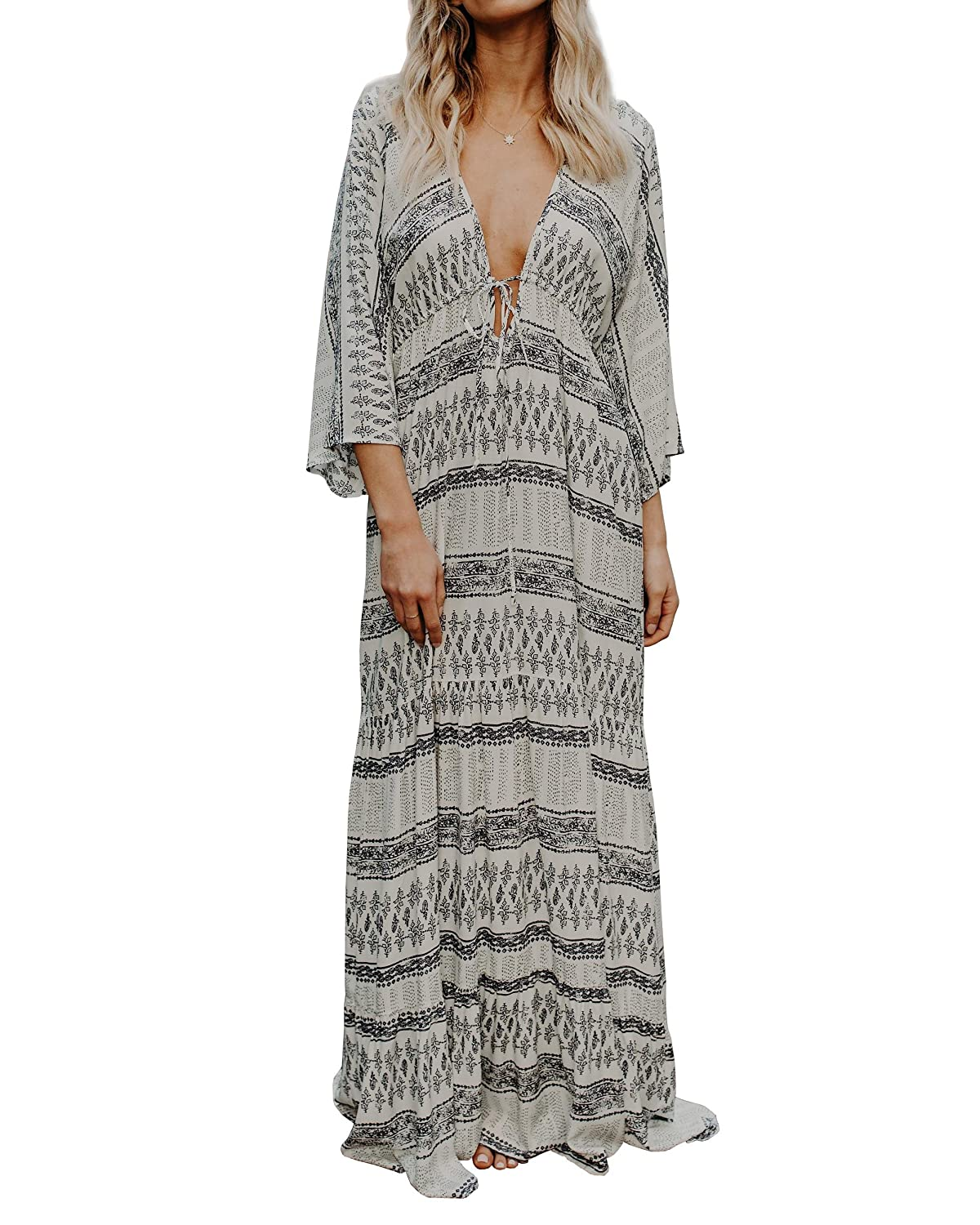 4fe42012a9 Top1  Bbalizko Womens Summer Bohemian Dresses Deep V Neck 3 4 Sleeve  Geometric Maxi Dress