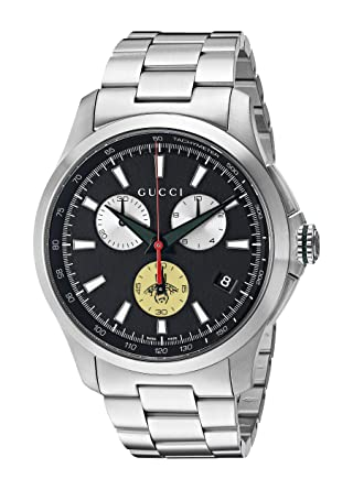 d6bbd7321f4 Image Unavailable. Image not available for. Color  Gucci Swiss Quartz  Stainless Steel Dress Silver-Toned Men s ...