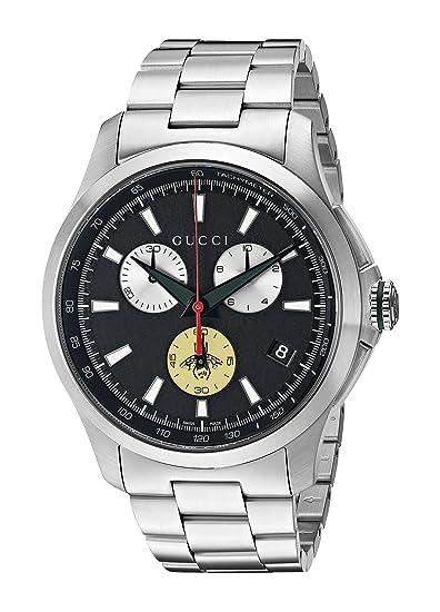 a4d066bb264 Gucci Men s G-Timeless 44mm Bracelet - YA126267 Black Steel  Amazon.ca   Watches