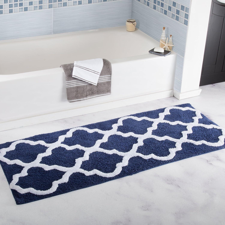 Lavish Home 100% Cotton Trellis Bathroom Mat - 24x60 inches - Navy