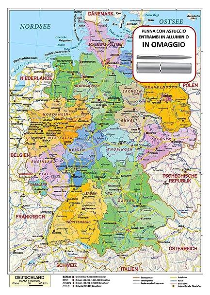 La Germania Cartina Geografica.Carta Geografica Murale Germania In Lingua Madre Tedesca