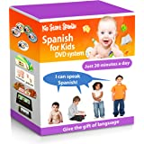 SPANISH FOR KIDS: Early Language Learning System (Spanish in just 20 minutes) Kid Start Spanish - 4 DVDs + Music CD + Large Book + 50 Flashcards + Games + Apps included.