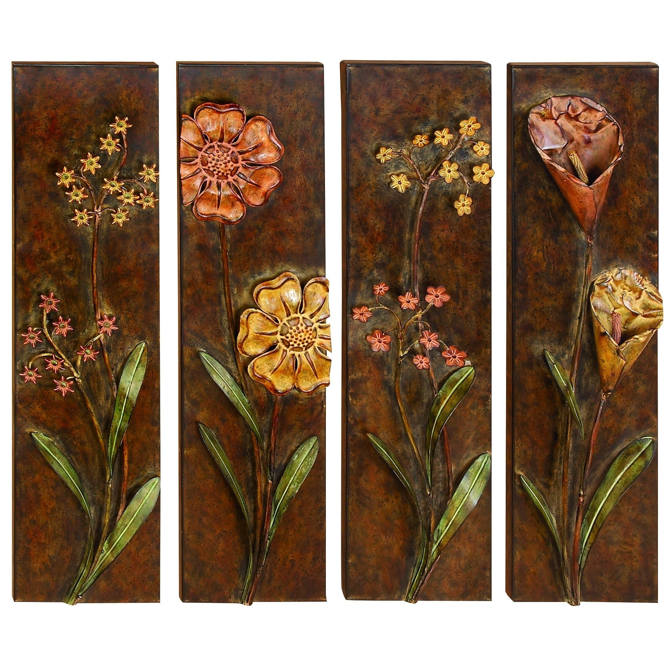 UMA Floral Designed Metal Wall Decor (Set of 4)