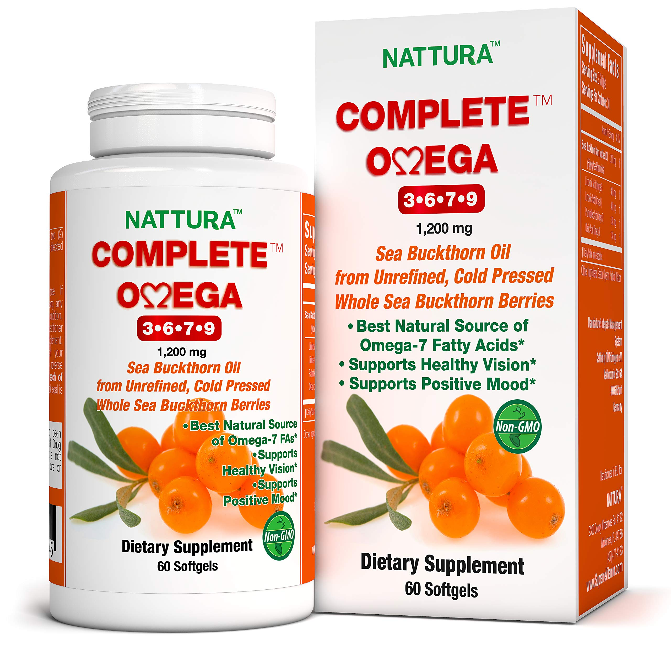 Complete Omega 3-6-7-9 * Pure Sea Buckthorn Oil * European Quality * from Unrefined, Cold Pressed Whole Sea Buckthorn Wild Berries - Non-GMO, Certified Kosher, Gluten-Free (1 Bottle (60 Capsules)) by Nattura