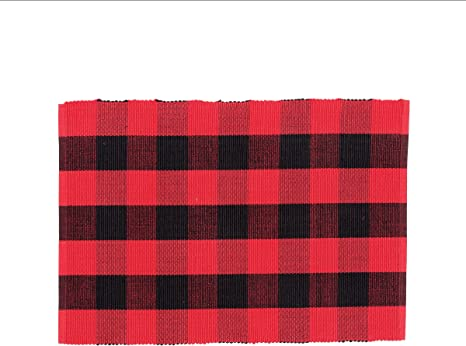 C F Home Franklin 13 X 19 Buffalo Check Gingham Plaid Woven Black And Red Cotton Reversible Machine Washable Placemat Set Of 6 Rectangular Placemat Set Of 6 Red Home Kitchen