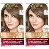 L'Oreal Paris Excellence Creme Permanent Hair Color, 6A Light Ash Brown, 100 percent Gray Coverage Hair Dye, Pack of 2