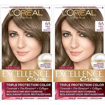 L Oreal Paris Excellence Creme Permanent Hair Color 6a Light Ash Brown 2 Count 100 Gray