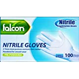 FALCON NITRILE GLOVES - MADE IN MALAYSIA - HIGH QUALITY - PRE-POWDERED – BLUE - LARGE SIZE – 100/PACK BY NICE.STORE.UAE