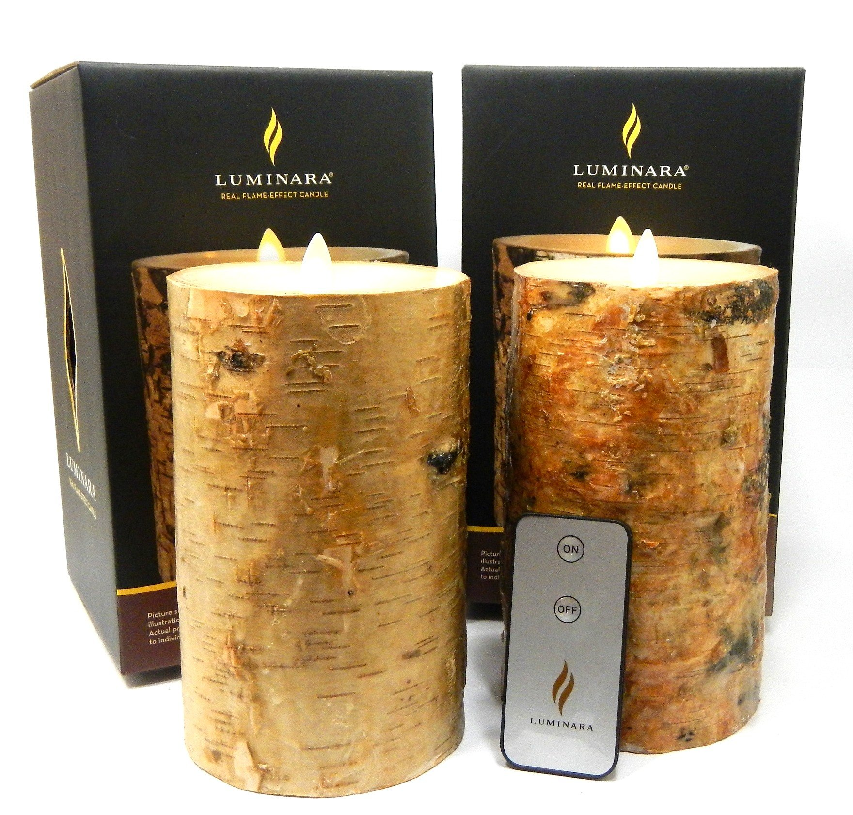 2pc Luminara BIRCH BARK Flameless Candle 7'' In. Tall Wax Pillar Set w/ REAL BIRCH WOOD 4'' In. Diameter | Bonus Remote Control Included by Luminara