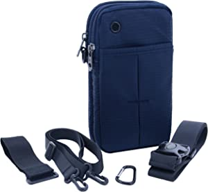 U-TIMES 4 in 1 Multiple Function Shoulder Bag Waist Bag Wrist Pouch Tactical Pack for Phone & Daily Life Necessities - Soft & Water Resistant(Dark Blue)