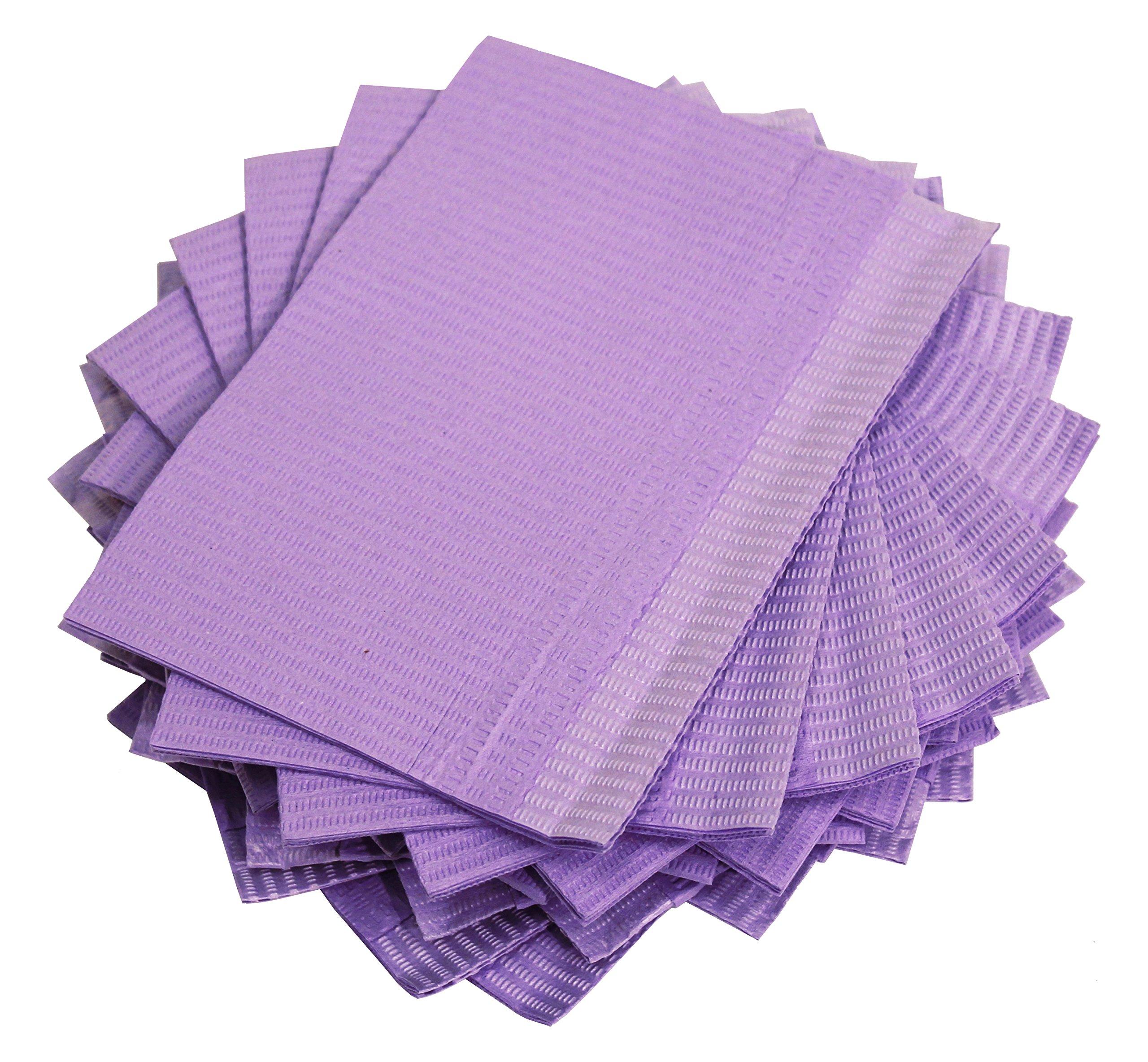 Adenna Dental Bibs/Lap Cloths, Violet (Box of 500)