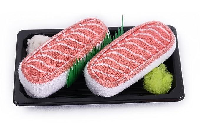 Sushi caja de calcetines - 1 par - salmón, tamaño UK 3 - 6, EUR 36 - 40: Amazon.es: Ropa y accesorios