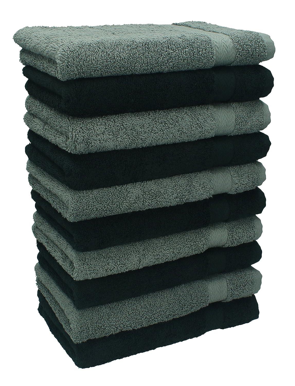 Betz Lot de 10 serviettes d'invité taille 30x50 cm 100% coton Premium couleur gris anthracite et noir