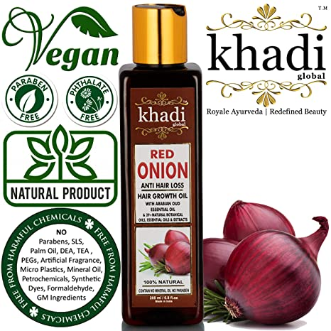 32dc8e26499 Khadi Global Red Onion Hair Oil for Hair Growth with Argan, Jojoba,  Rosemary,
