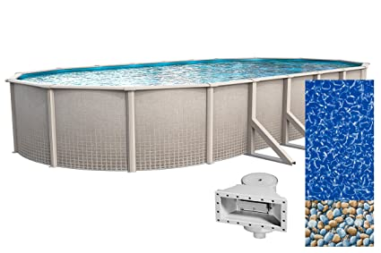 Wilbar Impressions 15-Foot-by-30-Foot Oval Above-Ground Swimming Pool |  48-Inch Height | Resin Protected Steel-Sided Walls | Bundle with Bedrock ...