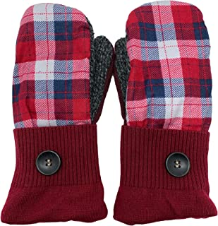 product image for Jack & Mary Designs Handmade Womens Flannel Top Fleece-Lined Wool Mittens, Made from Recycled Sweaters in the USA (Red/Blue Plaid)