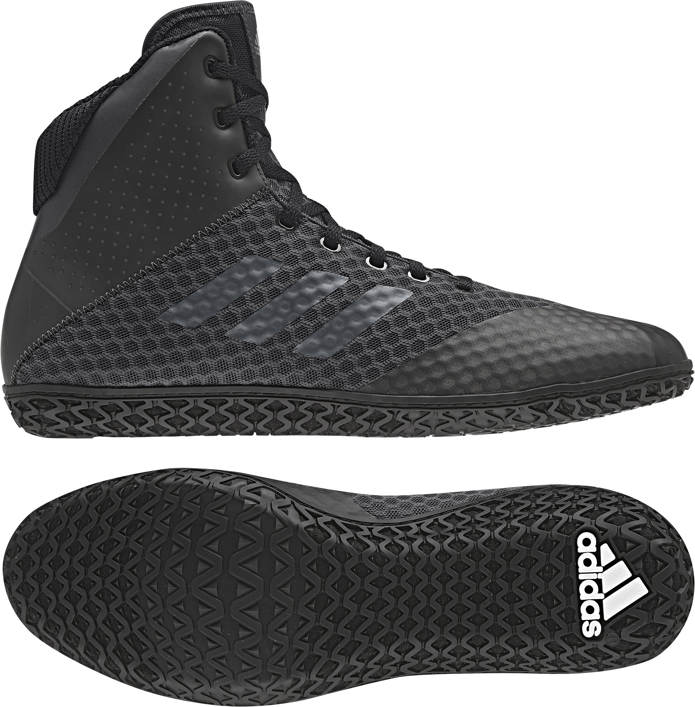 adidas Mat Wizard 4 Youth Wrestling Shoes, Black/Carbon, Size 3