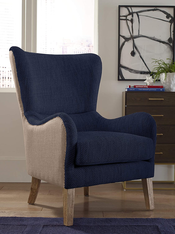 Amazon Finch Warner Wingback Chair Navy Two Tone