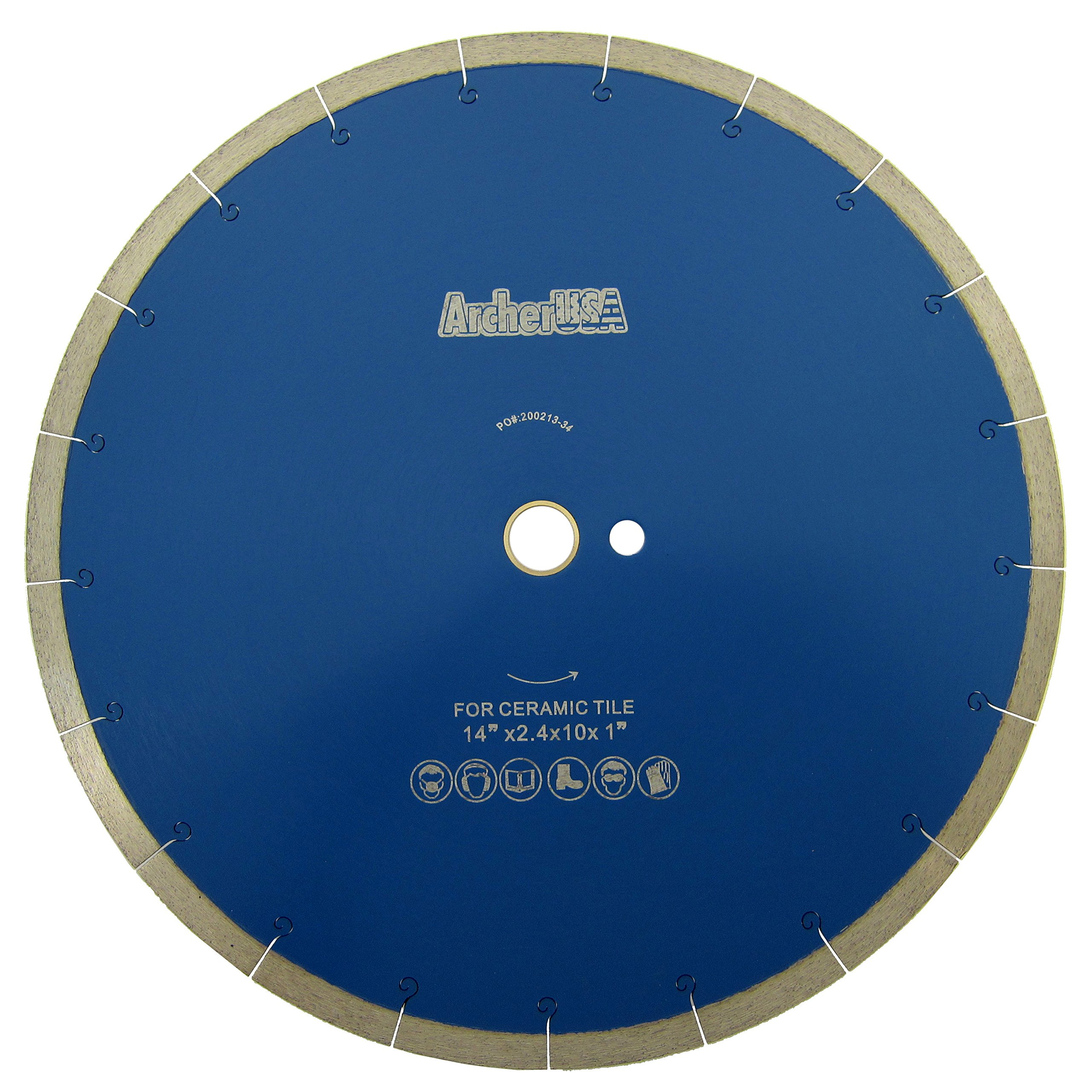 Tile Cutting Continuous Rim Diamond Blade with J-Slot 14 in. by Archer USA