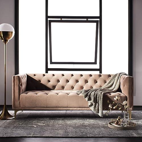 Safavieh Couture Home Florentino Glam Pale Mauve and Gold Tufted Sofa