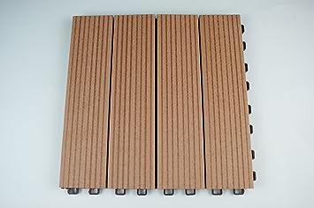 10 pck. wpc composit piastrelle ad incastro per terrazze o