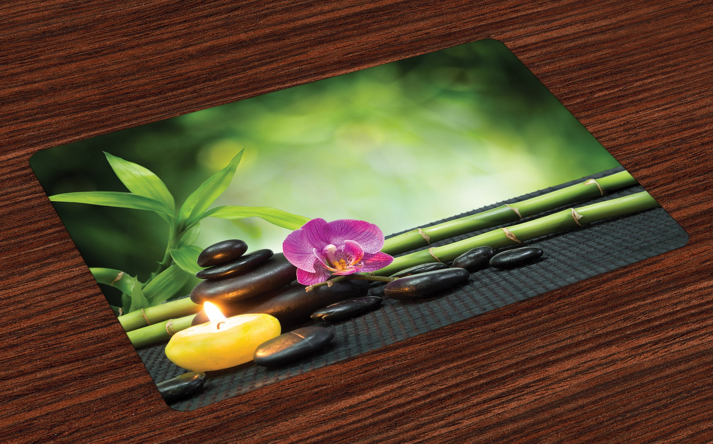 Ambesonne Spa Place Mats Set of 4, Orchid Bamboo Stems Chakra Stones Japanese Alternative with Feng Shui Elements, Washable Fabric Placemats for Dining Room Kitchen Table Decor, Apple Green Fuchsia