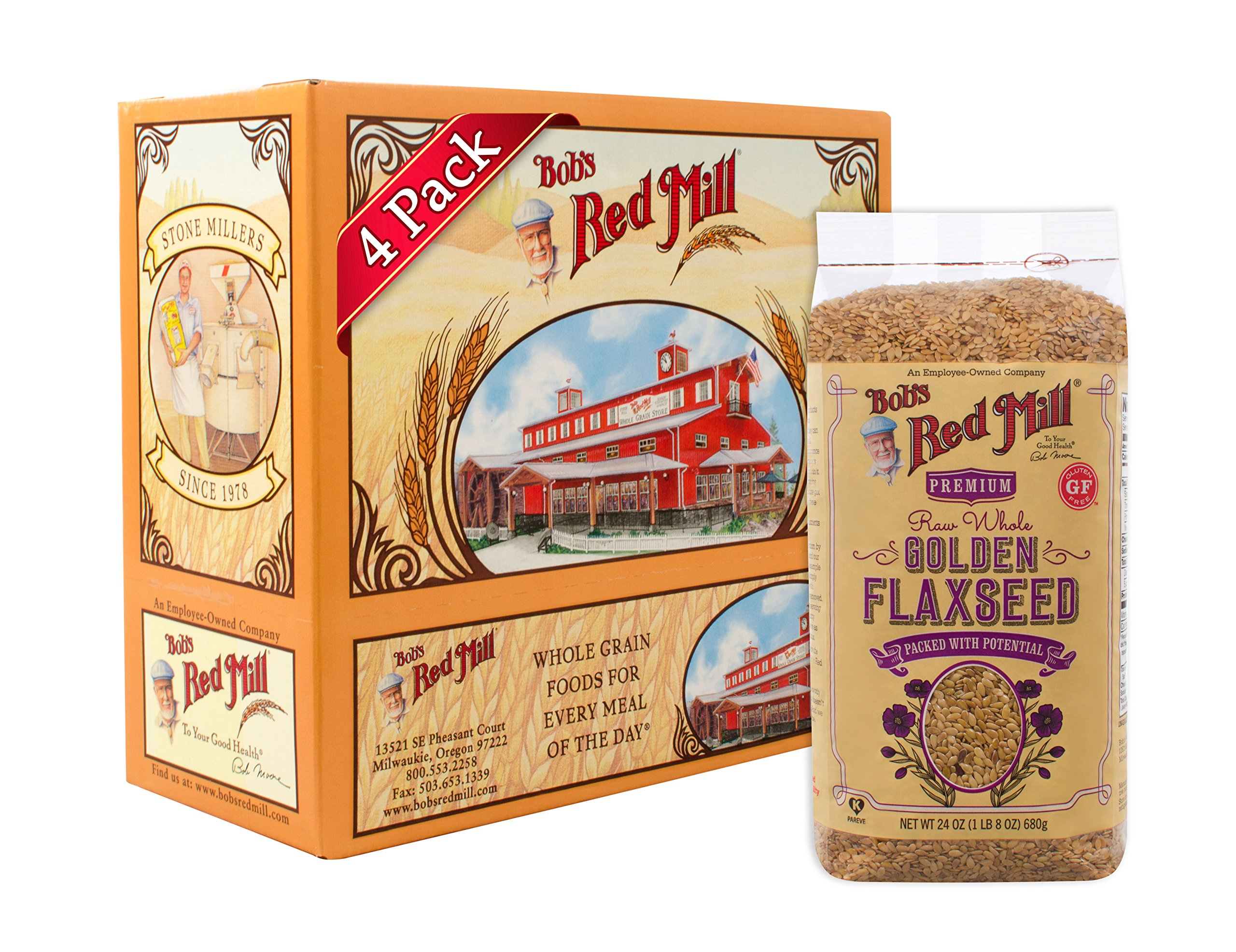 Bob's Red Mill Raw Whole Golden Flaxseed, 24-ounce (Pack of 4) (Package May Vary)