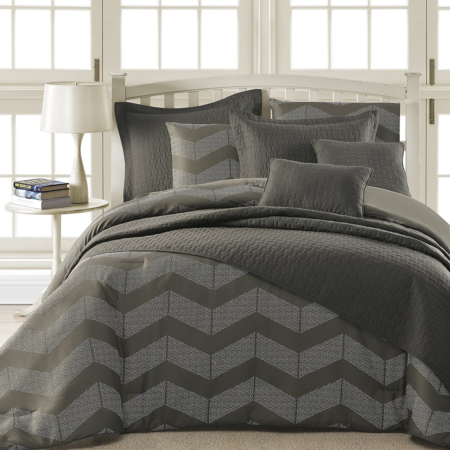 Comfy Bedding Spot Chevron Microfiber 5-Piece Comforter Set (King 5-piece, Grey