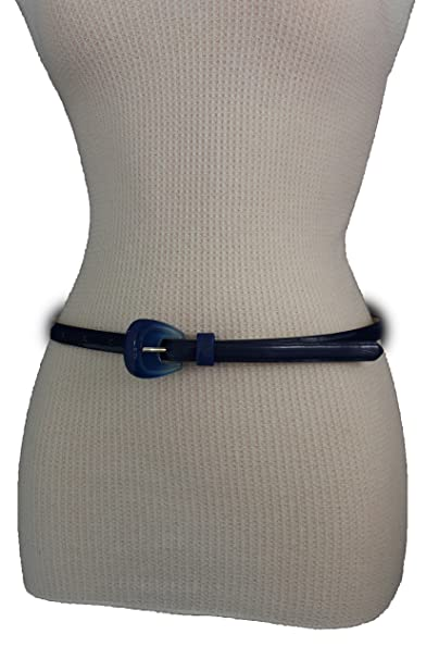 8f7ff20c11b TFJ Women Fashion Skinny Belt Hip High Waist Faux Leather Double Buckle S M  (Blue)