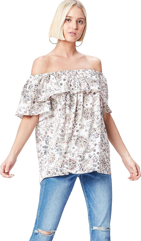 Marca Amazon - find. Blusa de Flores con Volante para Mujer
