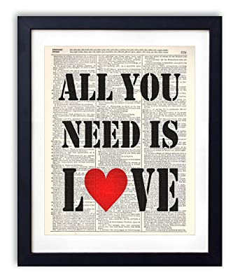 All You Need Is Love Typography Quote Vintage Dictionary Art Print 8x10
