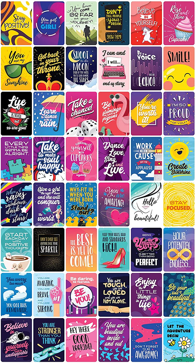 Fun Notes Happy Motivational Inspirational Messages Bloom Into Joy With Mini Quote Note Cards Just Because I Love You Inspirational Gifts For Women and Men Good Vibes Encouragement Cards 48