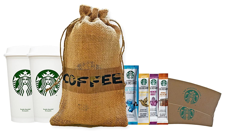Starbucks tazas de café de viaje reutilizables reciclables con tapas, mangas y Via de café instantáneo en bolsa de arpillera, regalo para él, ...