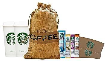 Starbucks tazas de café de viaje reutilizables reciclables con tapas, mangas y Via de café
