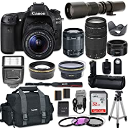 Canon EOS 80D DSLR Camera with Canon EF-S 18-55mm f/3.5-5.6 is STM Lens + Canon EF 75-300mm f/4-5.6 III Lens + Canon EF 50mm f/1.8 STM Lens + 500mm f/8.0 Telephoto Lens + New Accessories Bundle